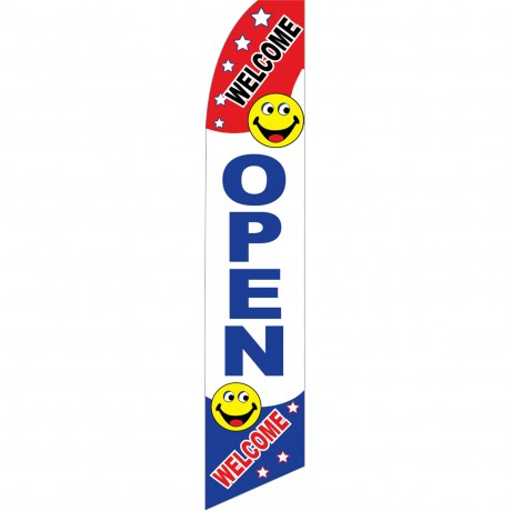 Open Welcome Smiley Face Swooper Flag