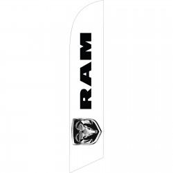 Dodge Ram Logo White Windless Swooper Flag