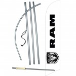 Dodge Ram Logo White Windless Swooper Flag Bundle