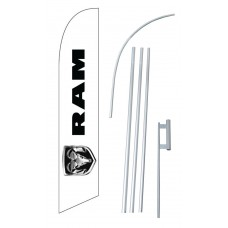 Dodge Ram Logo White Windless Swooper Flag Bundle