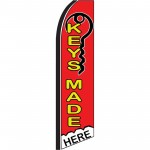 Keys Made Here Red Extra Wide Swooper Flag