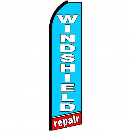 Windshield Repair Blue Extra Wide Swooper Flag
