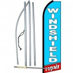 Windshield Repair Blue Extra Wide Swooper Flag Bundle