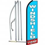 Windshield Repair Blue Extra Wide Swooper Flag Bundle
