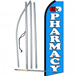 Pharmacy RX Blue Extra Wide Swooper Flag Bundle
