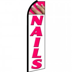 Nails White Extra Wide Swooper Flag