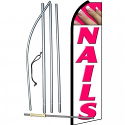 Nails White Extra Wide Swooper Flag Bundle