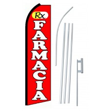 RX Farmacia (Pharmacy) Red Extra Wide Swooper Flag Bundle