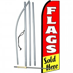 Flags Sold Here Red Extra Wide Swooper Flag Bundle