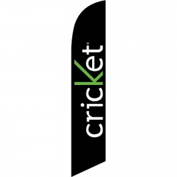 Cricket Simple Black Windless Swooper Flag