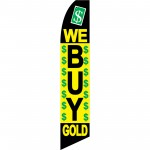We Buy Gold Black Yellow Green Swooper Flag