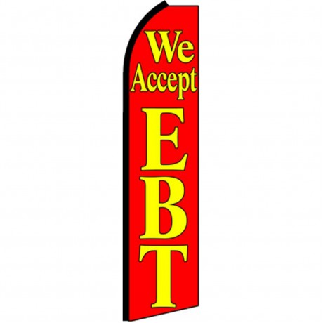 We Accept EBT Red Extra Wide Swooper Flag