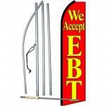 We Accept EBT Red Extra Wide Swooper Flag Bundle