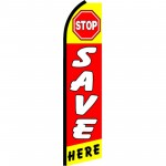 Stop Save Here Red Extra Wide Swooper Flag