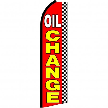 Oil Change Red Checkered Extra Wide Swooper Flag
