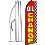 Oil Change Red Checkered Extra Wide Swooper Flag Bundle