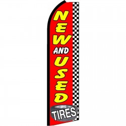New And Used Tires Checkered Extra Wide Swooper Flag