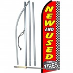 New And Used Tires Checkered Extra Wide Swooper Flag Bundle