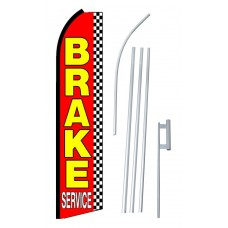 Brake Service Red Checkered Extra Wide Swooper Flag Bundle