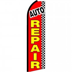 Auto Repair Red Checkered Extra Wide Swooper Flag