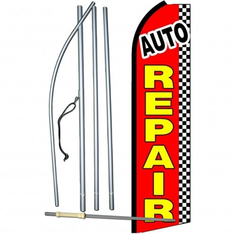 Auto Repair Red Checkered Extra Wide Swooper Flag Bundle