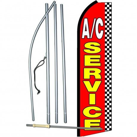 A/C Service Checkered Extra Wide Swooper Flag Bundle