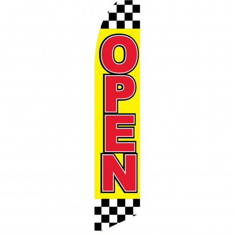 Open Checkered Red Yellow Swooper Flag