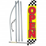 Open Checkered Red Yellow Swooper Flag Bundle