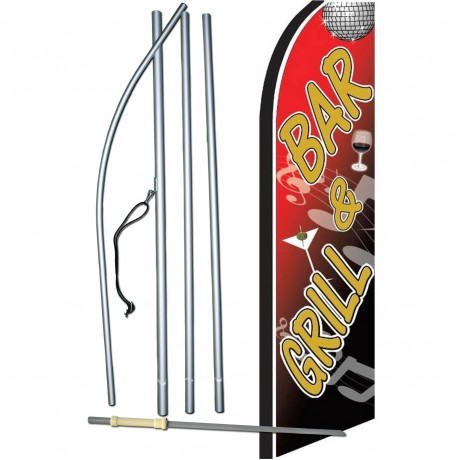 Bar & Grill Extra Wide Swooper Flag Bundle