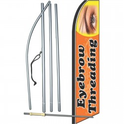 Eyebrow Threading Orange/Black Extra Wide Swooper Flag Bundle