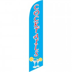 Cocktails Blue Red Windless Swooper Flag
