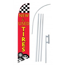 New & Used Tires Red Windless Swooper Flag Bundle