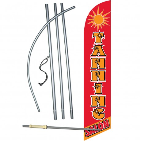 Tanning Salon Red Windless Swooper Flag Bundle