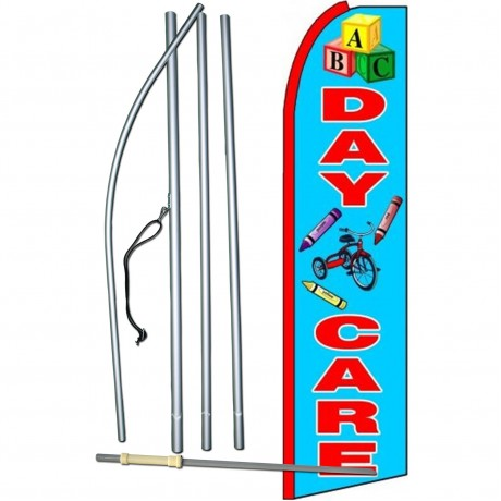 Day Care Blue Extra Wide Swooper Flag Bundle
