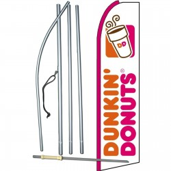 Dunkin Donuts White Extra Wide Swooper Flag Bundle