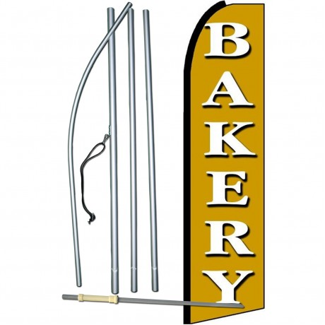 Bakery White & Gold Extra Wide Swooper Flag Bundle