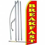 Breakfast Red Extra Wide Swooper Flag Bundle