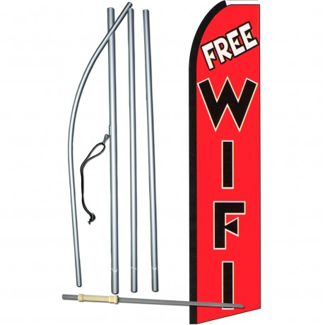 Free WiFi Black/Red Extra Wide Swooper Flag Bundle