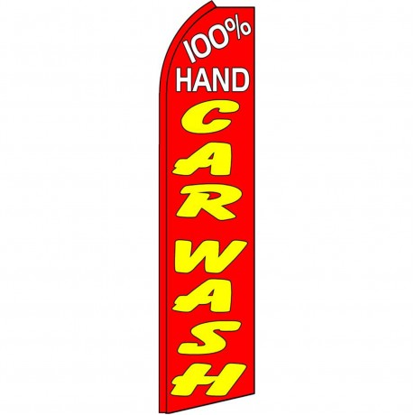 100% Hand Car Wash Red Yellow Extra Wide Swooper Flag
