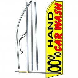 100% Hand Car Wash Yellow Extra Wide Swooper Flag Bundle