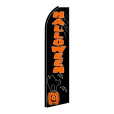 Halloween Cat/Pumpkin Extra Wide Swooper Flag