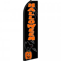 Halloween Cat Pumpkin Extra Wide Swooper Flag