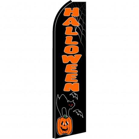 Halloween Cat Pumpkin Extra Wide Swooper Flag