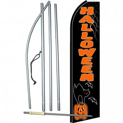 Halloween Cat Pumpkin Extra Wide Swooper Flag Bundle