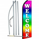 Welcome Rainbow Extra Wide Swooper Flag Bundle