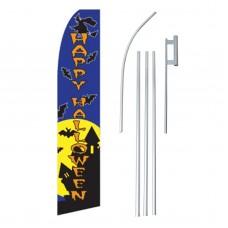 Happy Halloween Witch/Bats Swooper Flag Bundle