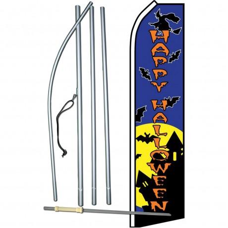 Happy Halloween Witch Bats Swooper Flag Bundle