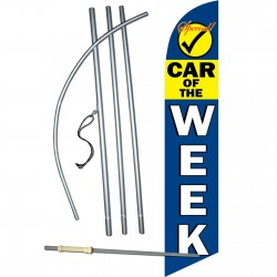 Car of the Week Yellow/Blue Windless Swooper Flag Bundle