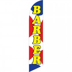 Barber Shop Red Blue Dots Windless Swooper Flag