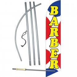 Barber Shop Red Blue Dots Windless Swooper Flag Bundle